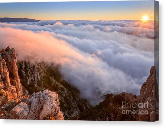 Foggy Canvas Print - Ocean Of A Cloud And Sky Of Dawn by Olga Maksimava