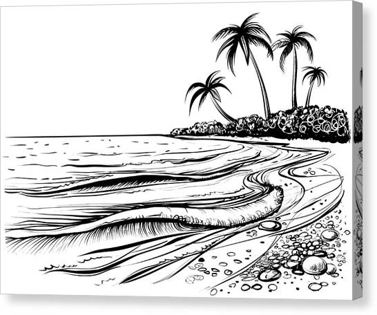 Engraving Canvas Print - Ocean Or Sea Beach With Waves, Sketch by Melok
