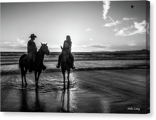 Ocean Sunset On Horseback Canvas Print