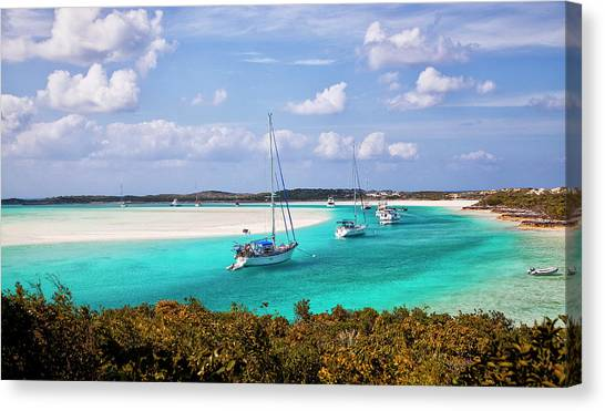 Ocean View From Warderick Cay In Exumas Canvas Print
