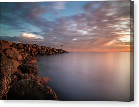 Long Exposure Canvas Print - Oceanside Jetty by Larry Marshall