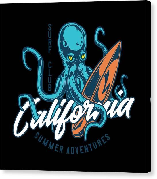 Surfboard Canvas Print - Octopus Surf Club California by Jk