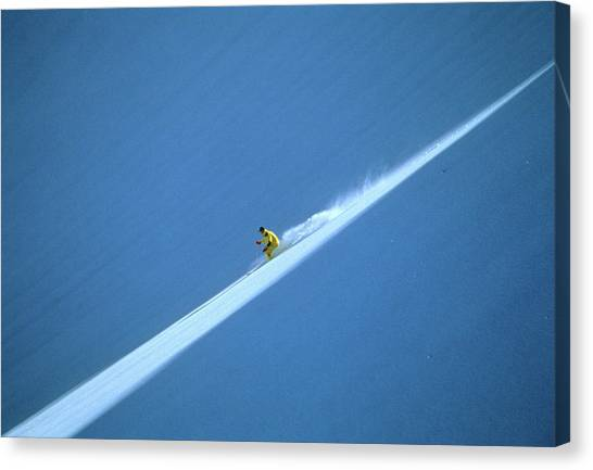 Off-piste Skier On Untouched Snow Field Canvas Print