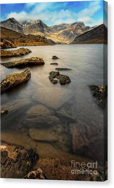 Ogwen Canvas Print - Ogwen Lake Snowdonia by Adrian Evans