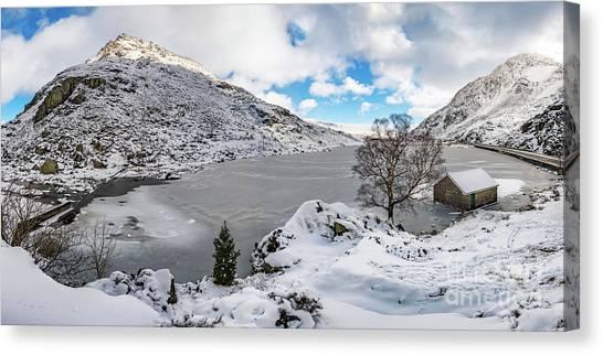 Ogwen Canvas Print - Ogwen Lake Winter Snowdonia by Adrian Evans