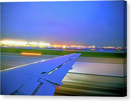O'hare Night Takeoff Canvas Print