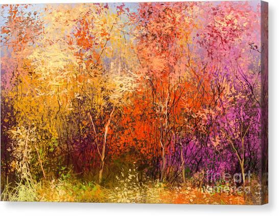 Media Canvas Print - Oil Painting Landscape - Colorful by Pluie r