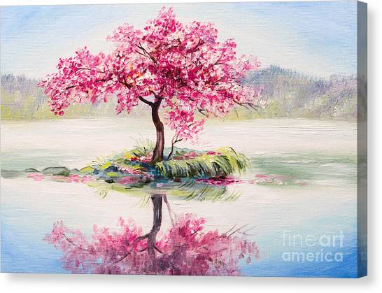 Japanese Gardens Canvas Print - Oil Painting Landscape, Oriental Cherry by Fresh Stock