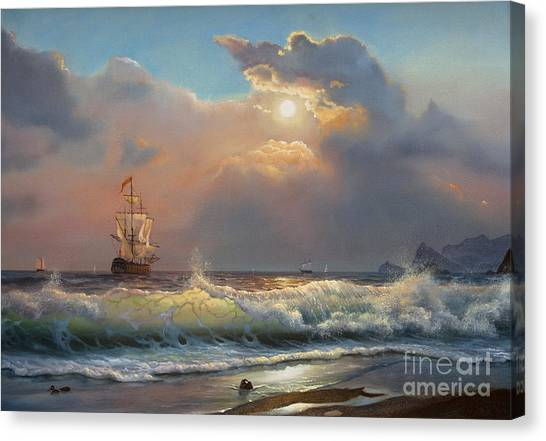 Seagull Canvas Print - Oil Painting On Canvas , Sailboat by Liliya Kulianionak