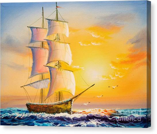 Yacht Canvas Print - Oil Painting - Sailing Boat by Cyc