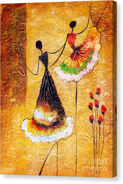 Illustration Canvas Print - Oil Painting - Spanish Dance by Cyc