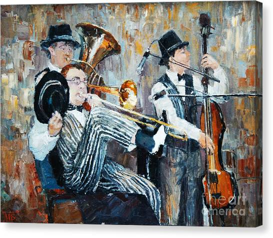 Sheet Canvas Print - Oil Painting, The Orchestra Plays by Maria Bo