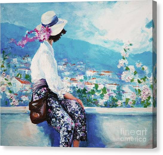 Illustration Canvas Print - Oil Painting, Woman Sitting And Looking by Maria Bo