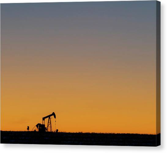 Canvas Print featuring the photograph Oil Pump After Sunset 02 by Rob Graham