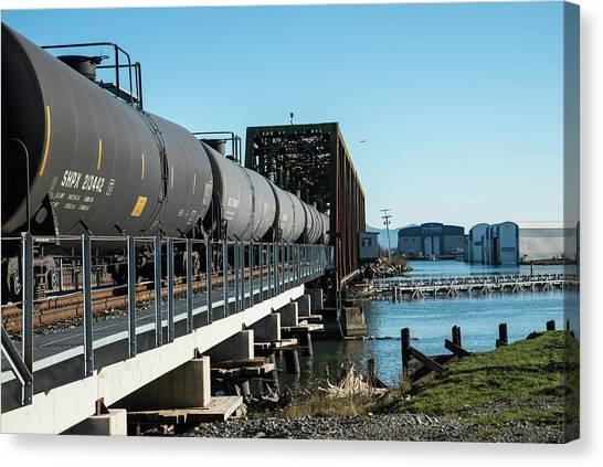 Oil Train Over Swinomish Channel Canvas Print