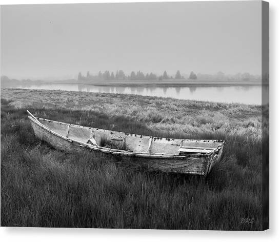 Old Boat In Tidal Marsh Canvas Print