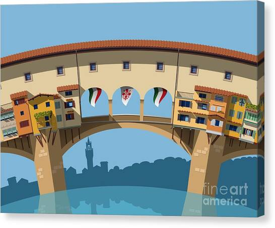 Famous Places Canvas Print - Old Bridge In Florence Flat Illustration by Nikola Knezevic