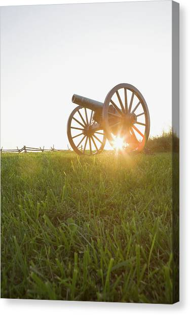 Blade Of Grass Canvas Print - Old Cannon by Tetra Images - Chris Hackett