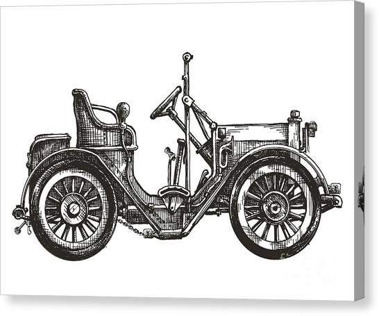 Speed Canvas Print - Old Car On A White Background. Sketch by Ava Bitter