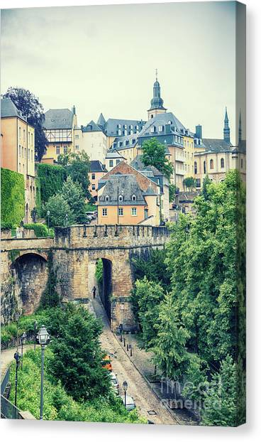 old city Luxembourg from above Canvas Print