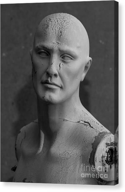 Old Decaying Mannequin, Shot On B&w Canvas Print by Conrad Levac