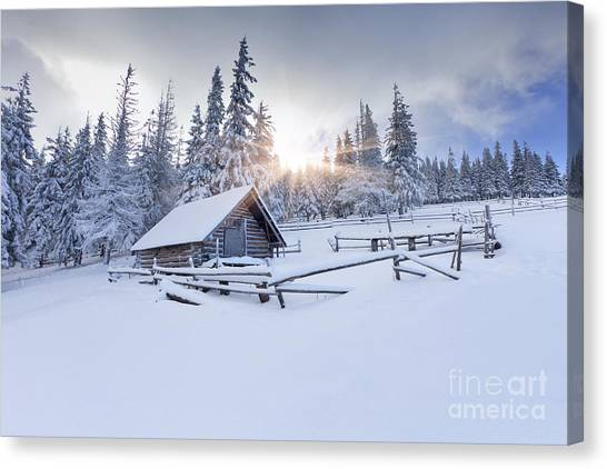 Hoarfrost Canvas Print - Old Farm In The Mountains At Winter by Andrew Mayovskyy