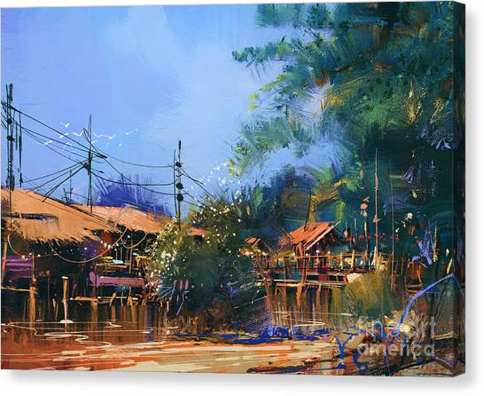 Acrylic Canvas Print - Old Fishing Village,oil Painting by Tithi Luadthong