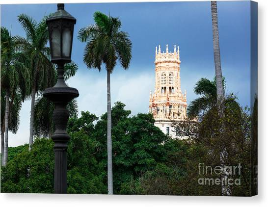 Street Lamp Canvas Print - Old Hotel With Palm Trees In Havana by Terekhov Igor