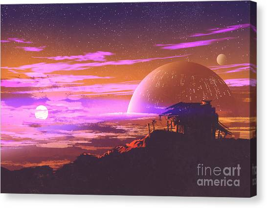 Atmosphere Canvas Print - Old House On Planet by Tithi Luadthong