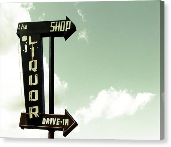 Old Liquor Store Sign Canvas Print