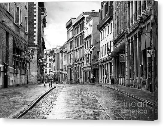 Old Montreal Cobblestone Streets Canvas Print