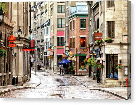 Quebec City Canvas Print - Old Montreal Morning Street Scene 2010 by John Rizzuto