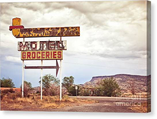 Neon Canvas Print - Old Motel Sign On Route 66, Usa by Andrey Bayda