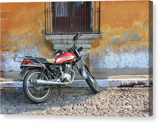 Biker Canvas Print - Old Motorcyle In Colonial Antigua by Charles Harker
