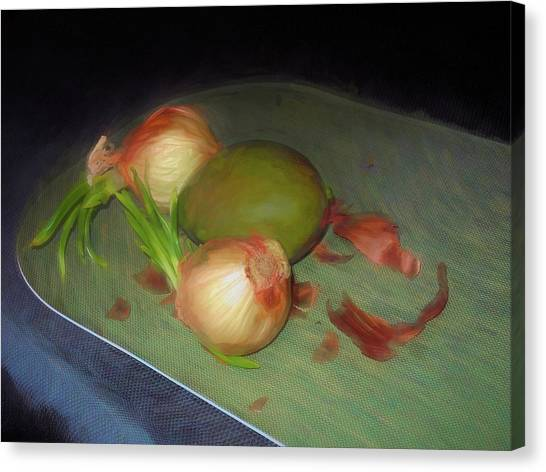 Canvas Print featuring the mixed media Old Onions And Peels, Stylized by Lynda Lehmann