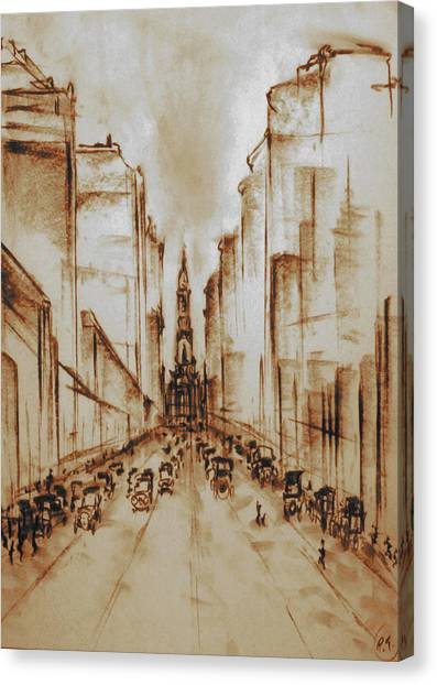 Old Philadelphia City Hall 1920 - Pencil Drawing Canvas Print