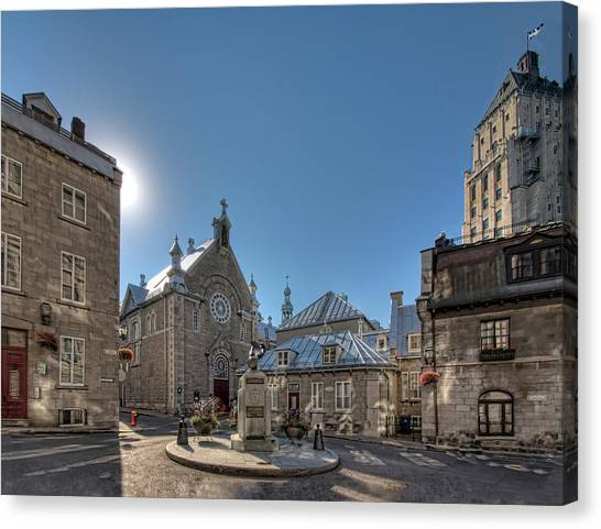 Quebec City Canvas Print - Old Quebec City Square by Melinda Moore