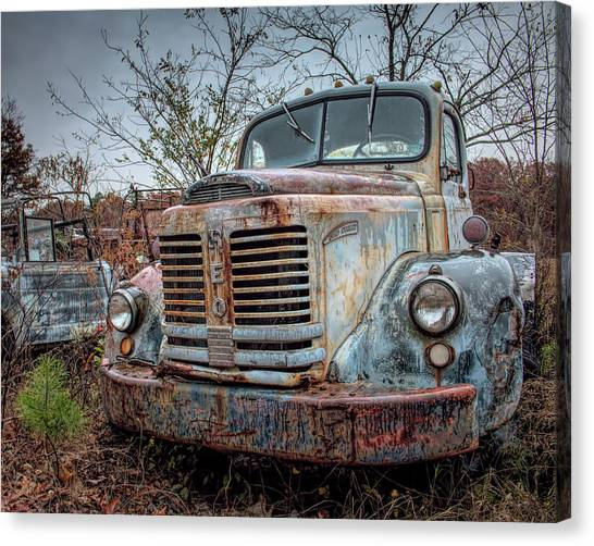 Canvas Print featuring the photograph Old Reo Gold Comet by Kristia Adams