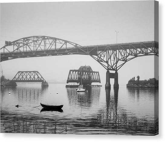 Canvas Print featuring the photograph Old Sakonnet River Bridge IIi Bw by David Gordon