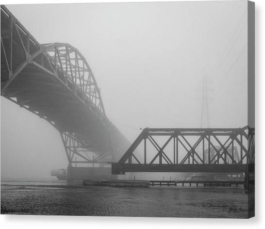 Canvas Print featuring the photograph Old Sakonnet River Bridge V Bw by David Gordon