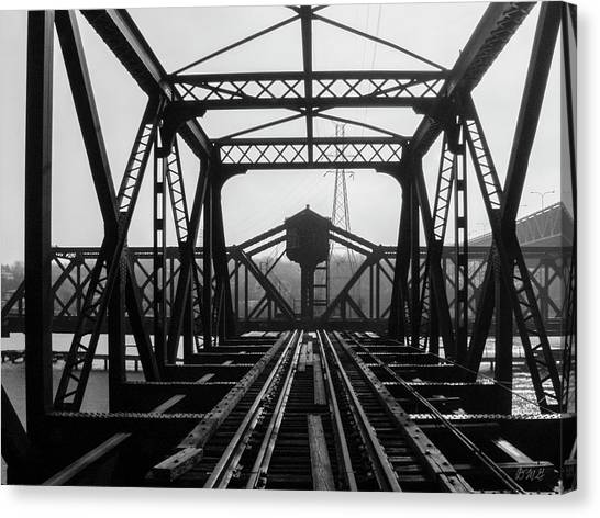 Canvas Print featuring the photograph Old Sakonnet River Railroad Bridge Bw by David Gordon