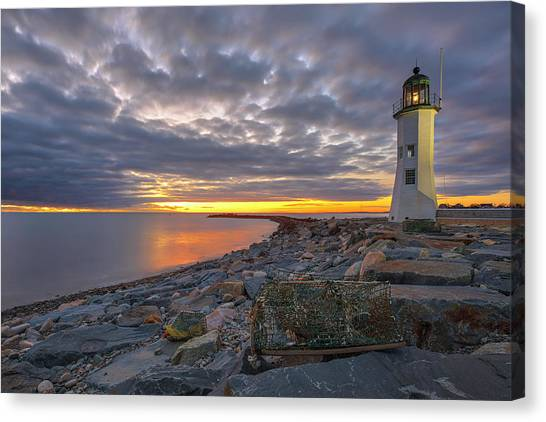 Canvas Print featuring the photograph Old Scituate Light by Juergen Roth