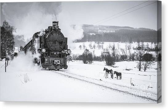Empty Canvas Print - Old Steam Train Puffing Across Winter by Tomas Kulaja