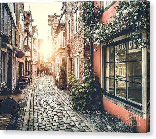 Belgium Canvas Print - Old Town In Europe At Sunset With Retro by Canadastock