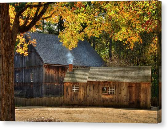 Canvas Print featuring the photograph Old Weathered Barn In Fall by Joann Vitali