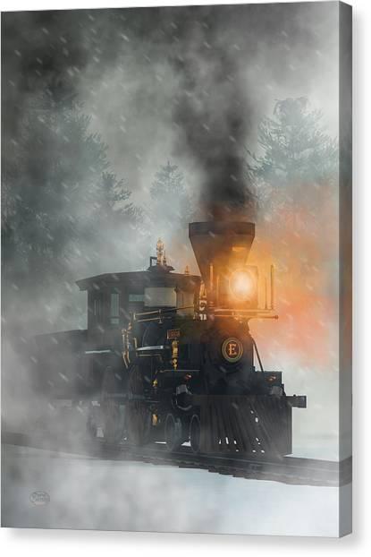 Canvas Print featuring the digital art Old West Steam Train  by Daniel Eskridge