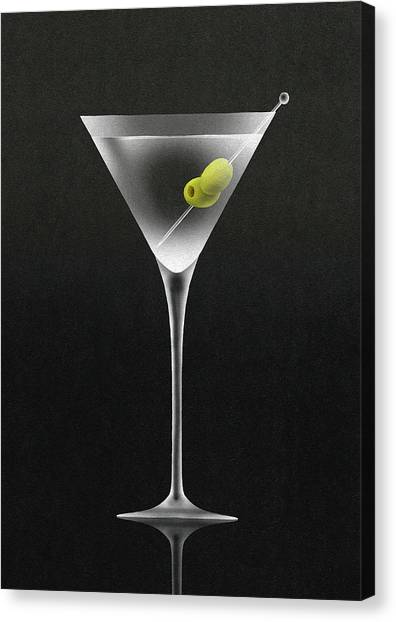 Olives In Martini Cocktail Glass Canvas Print