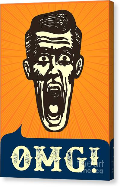 50s Canvas Print - Omg Jaw Dropping, Retro Vintage Man by Durantelallera