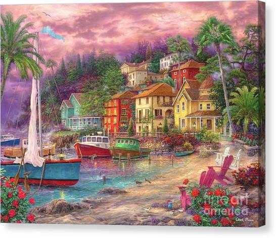 Sailboat Canvas Print - On Golden Shores by Chuck Pinson