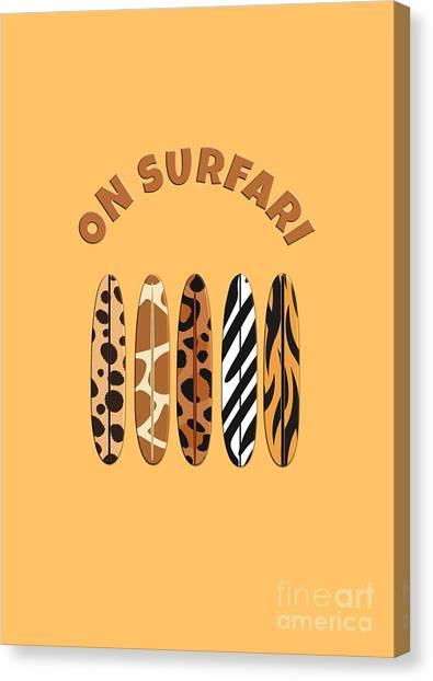 On Surfari Animal Print Surfboards  Canvas Print
